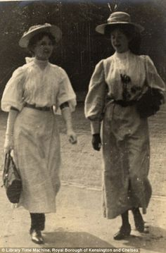 two friends walking together on July 4th 1906 London..wonderful images by the late amateur photographer Edward Linley Sambourne,  Read more: http://www.dailymail.co.uk/femail/article-2173872/Edwardian-street-style-Astonishing-amateur-images-capture-fashion-women-London-Paris-century-ago.html#ixzz2bx4QVmxi Follow us: @MailOnline on Twitter | DailyMail on Facebook