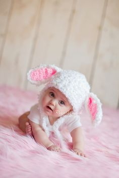 Floppy Bunny Baby Girl or Baby Girl Crochet Hat Earflap Photography Prop Ready Item on Etsy, $20.05 CAD