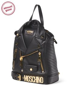 image of Made In Italy Leather Biker Jacket Backpack