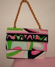Vintage 70s Emilo Pucci Purse Pink Green Black white chain handle Mod $300.00