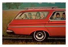 This must be how my family looked traveling with all 8 kids in the back of the station wagon....no seat belt laws then.