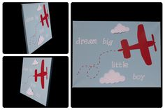 3D Nursery Art - Airplane and Clouds - dream big little boy