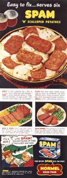 SPAM® Classic is so easy to fix, even couch potatoes can do it! Just slice it and sizzle it. The secret blend of pork shoulder and ham makes the perfect addition to any dish.    SPAM® Brand   Retro   Vintage   History   Recipe   Dinner   Scalloped Potatoes