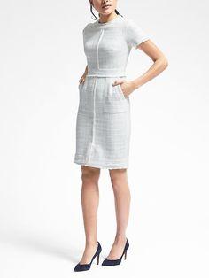 037b8b72913 Banana Republic Short-Sleeve Frayed-Edge Tweed Dress Preppy Chic Style