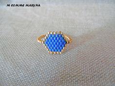 Bague tissée perles Miyuki Doré et bleu-violet peyote Bohostyle Bohochic Bohemian. Taille de la bague 54-55 : Bague par m-comme-maryna