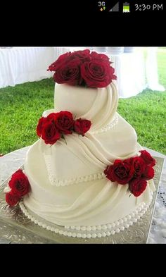 Beautiful White Drapped and Red Roses Cake