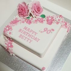 My mum's birthday cake by 60th Birthday Cake For Mom, 90th Birthday Parties, 75th Birthday, Happy Birthday, Sheet Cake Designs, Mom Cake, Cakes For Women, Drip Cakes, Fancy Cakes