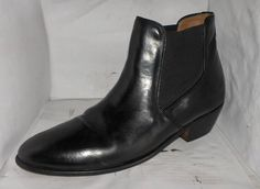 STACY ADAMS MENS BLACK LEATHER PULL UPS BOOTS SIZE 10 MEDIUM  RUSSELLB SHOES #STACYADAMS #AnkleBoots