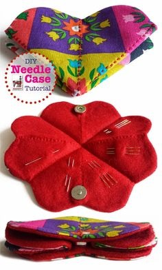 Porta agulhas - Diy Needle Case with tutorial. By Handwerkjuffie. Small Sewing Projects, Sewing Hacks, Sewing Tutorials, Sewing Patterns, Tatting Patterns, Sewing Case, Sewing Box, Hand Sewing, Sewing Kits