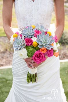 Stunning succulent and rose bouquet! <3