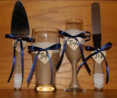 Champagne Flute and Beer Glass with Cake by CarolesWeddingWhimsy, set of 4, Navy Blue Rustic Wedding Champagne Flute and Beer Glass with a matching Rustic Wedding Cake Serving Set.  You can find them here https://www.etsy.com/listing/248877013/champagne-flute-and-beer-glass-with-cake