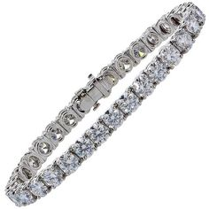 Preowned Tiffany & Co. 16.78 Carat Diamond Platinum Tennis Bracelet ($125,000) ❤ liked on Polyvore featuring jewelry, bracelets, multiple, platinum jewelry, tennis bracelet, diamond bangle, diamond tennis bracelet and tiffany & co jewellery