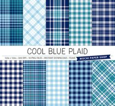 Blue Plaid Digital Paper Download on Mochi Paper Shop via Etsy ~ Great for creatives who love paper crafts, scrapbooking, making cards, etc