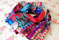 Multicolor Scarf Colorful Scarf Oriental Style by PinkkisShop