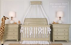 Gorgeous #nursery collection in driftwood. This crib converts to a full bed.  Other items available. #brattdecor #nursery #baby #convertibe-crib #changingtable #babyfurniture #wallcrown