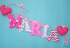 Fabric letters name banner, Girl's room Pink &White Chevron and Polka Dot - with 2 felt hearts ornaments Name Wall Decor, Name Wall Art, Letter Ornaments, Heart Ornament, Fabric Letters, Fabric Names, Nursery Banner, Shabby Chic Pink, Name Banners