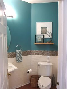 downstairs bathroom Design: Tropical Coastal design bathroom with bright Turquoise and a Mother of Pearl border. Hand Towel: Our Mosaic Tile in Cameo Blue Modern Small Bathrooms, Coastal Bathrooms, Guest Bathrooms, Bathroom Design Small, Bathroom Interior Design, Tropical Bathroom Decor, Blue Bathrooms, Small Bathroom Paint, Ocean Bathroom