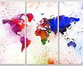 "3 Panel Split Art World Map Canvas Print, 1.5"" deep frames, Triptych, art for home/office wall decor & interior design."