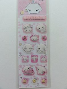 San-X Buru Buru Dog puppies small sticker sheet - pink. Collectible. Vintage, rare and very hard to find. Size of the sheet is about 1.75 x 4 inch. The stickers are made of plastic material.
