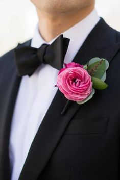 Bright pink boutonniere at Wedding at Kimmel Center for the Performing Arts, Philadelphia On Your Wedding Day, Perfect Wedding, Summer Wedding, Pink Boutonniere, Boutonnieres, Tiger Lily Flowers, Enchanted Florist, Orange Wedding, Whimsical Wedding