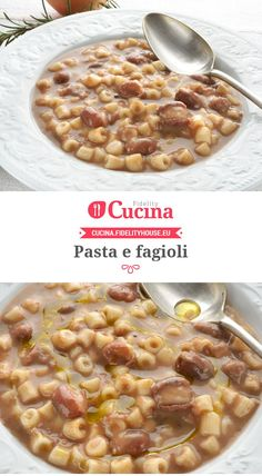Pasta e fagioli Pasta Recipes, My Recipes, Gourmet Recipes, Italian Recipes, Soup Recipes, Cooking Recipes, Tuscan Pasta, Pasta E Fagioli Soup, Italian Lunch