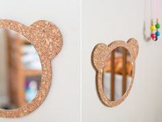 Tutorial for making this bear mirror - I will use an oval mirror & a hedgehog image instead for Talia's room. LOVE THIS!