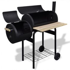Charcoal Bbq Smoker Large Barbecue Cooker Grill Outdoor Patio Garden Side Table