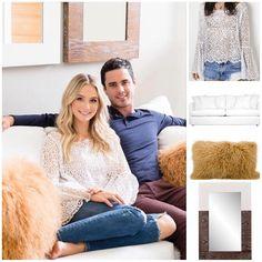 Lauren Bushnell wore a Roe  Mae top sofa pillows and mirror by Joss & Main  Shopping info on www.starstyle.com  #laurenbushnell #starstyle #celebritystyle #jossandmain #roeandmay  #celebrityfashion #benhiggins #style #fallstyle #fashion #ootd #lotd #thebachelor #fashionblog #styleblog