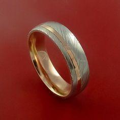 Damascus Steel 14K Rose Gold Ring Wedding Band Custom Made – Stonebrook Jewelry