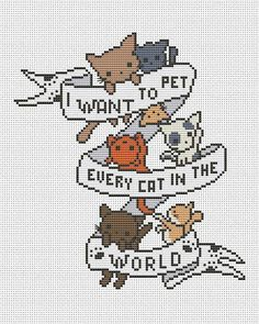 Kittens - Modern cross stitch pattern pdf by AnnaXStitch - Cat cross stitch chart - Funny embroidery scheme - hoop art - Digital file - Kitten cross stitch-Cat counted cross stitch by AnnaXStitch - Cat Cross Stitches, Cross Stitch Bookmarks, Cross Stitch Charts, Cross Stitching, Cross Stitch Embroidery, Cross Stitch Beginner, Cross Stitch House, Counted Cross Stitch Kits, Funny Embroidery