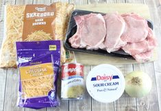 hashbrowns pork chops shredded cheddar cheese sour cream cream of chicken Shredded Hash Browns, Shredded Pork, Recipes Using Pork, Pork Chop Recipes, Cream Cream, Sour Cream, Shredded Hashbrown Recipes, Pork Chop Casserole, Chopped Cheese