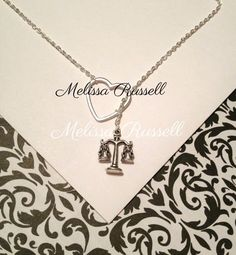 Law necklace with scale of justice charm by MelissaMarieRussell