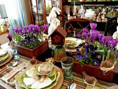 Spring table setting, burlap chargers, Park Design Enchanted Forest plates, violas, crocuses, dragonflies, birds, nests, eggs, Spring tablescape.