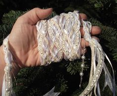 Wedding Handfasting Cord - White and Ivory satin and Tulle hearts