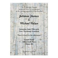 White Birch Tree Wedding invites