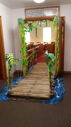 VBS- Journey Off the Map - Decorations - Jungle theme - Bridge into sanctuary - Calvary Baptist Church Jungle Theme Decorations, Vbs Themes, Map Decorations, Jungle Theme Crafts, Jungle Party, Safari Party, Safari Theme, Jungle Theme Classroom, Classroom Decor