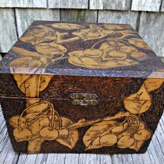 Vintage Flemish Art Pyrography Wood Box Cherries Documents Collars Hat