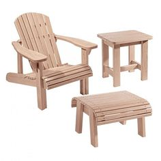 Adirondack Chair Plans and Templates with Foot Stool and Side Table Plans