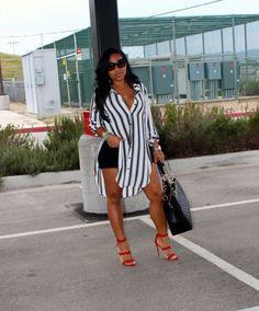 Wearing: F21 Blouse, Target Shorts, Prada Scalloped Sandals,  Chanel Bag.