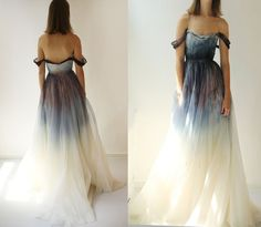 Party Dress 2017 Unique Hand-Painted Prom Dress,Sexy Off The Shoulder Evening Dress,Amazing Organza Party Dress