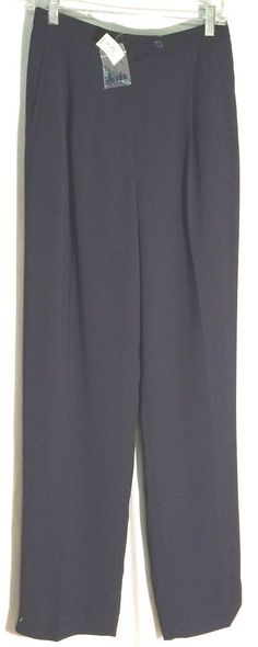 New ANN TAYLOR LOFT Navy Pleated Slightly Tapered Polyester Pants - Tag - Size 8 #AnnTaylorLOFT #DressPants #anntaylor #navy #blue #pleated #8