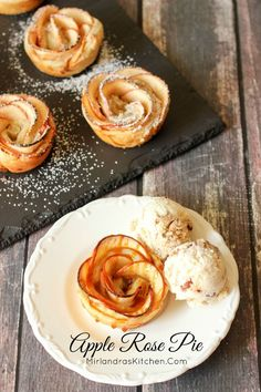 These Apple Rose Pie treats only look complicated!  It is easy to make this beautiful treat for Mother's Day, or a special dinner.  Apple slices are wrapped in puff pastry with a cream cheese and Apple Beer sauce and then rolled into roses.  Dress it up w