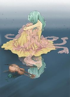 A a rather somber Sailor Neptune fanart. I like that she isn't playing the violin.