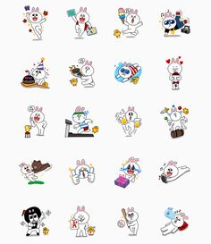 cute line stickers Friends Emoji, Line Friends, Word Line, Friends Wallpaper, Cartoon Design, Line Sticker, Bullet Journal Inspiration, Cute Characters, Character Design Inspiration