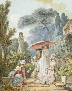 jeannepompadour:  Elegant Figures in a Park byJean-Baptiste Mallet, late 18th century