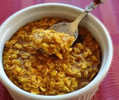 Single-Serving Pumpkin Baked Oatmeal - AHHHH!  This is SOOOO GOOD!!!  I made it in the microwave so took less than 5 min to throw together.  I also made mine with a 1/2 tsp of spelnda/brown sugar blend and one 1 tbsp of chopped walnuts.  Everything else was perfect.  SOOOOO good!  Not surprised though, I love almost all Chocolate Covered Katie recipes.
