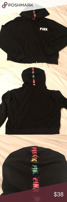 VS PINK cropped full zip hoodie Like new condition. Victoria's Secret Pink cropped full zip hoodie sweatshirt. Multicolor logo on hoodie. Size medium. PINK Victoria's Secret Tops Sweatshirts & Hoodies