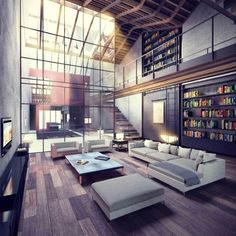high ceilings, open spaces and books.