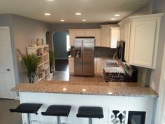 wall colors that go with azul platino granite - Bing images