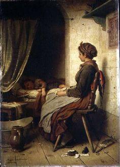 """""""Das schlafende Kind"""" von Johann Georg Meyer von Bremen (geboren am 28. Oktober 1813 in Bremen, gestorben am 4. Dezember 1886 in Berlin), bedeutsamer Künstler der klassischen deutschen Genremalerei."""